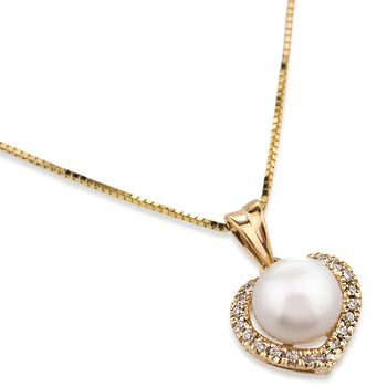 UMI Pearls DIAMOND HEART Pendant