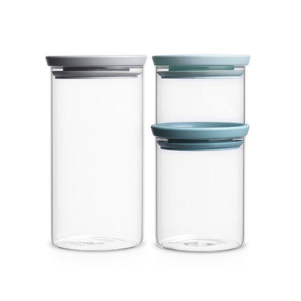Brabantia Stackable Glass Jars Set 3pcs Image