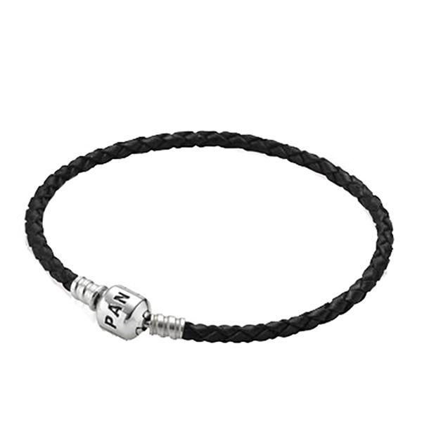 PANDORA Single Braided Black Leather Bracelet Image