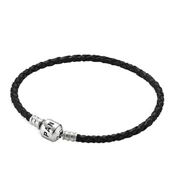 PANDORA Single Braided Black Leather Bracelet