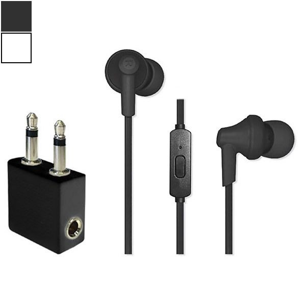 Travel Ready In-Ear Headphones with Mic & Airline Adapter Image