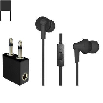 Travel Ready In-Ear Headphones with Mic & Airline Adapter