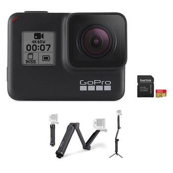 GoPro HERO 7 Camera (Black) + 3-Way Mount + microSD Card 32GB
