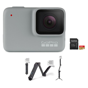 GoPro HERO 7 Camera (White) + 3-Way Mount + microSD Card 32GB